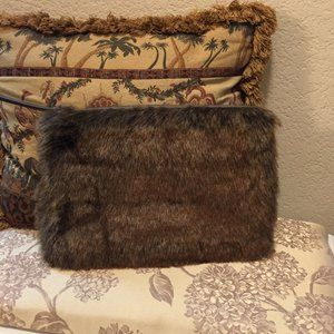 RH fun faux fur large zip clutch